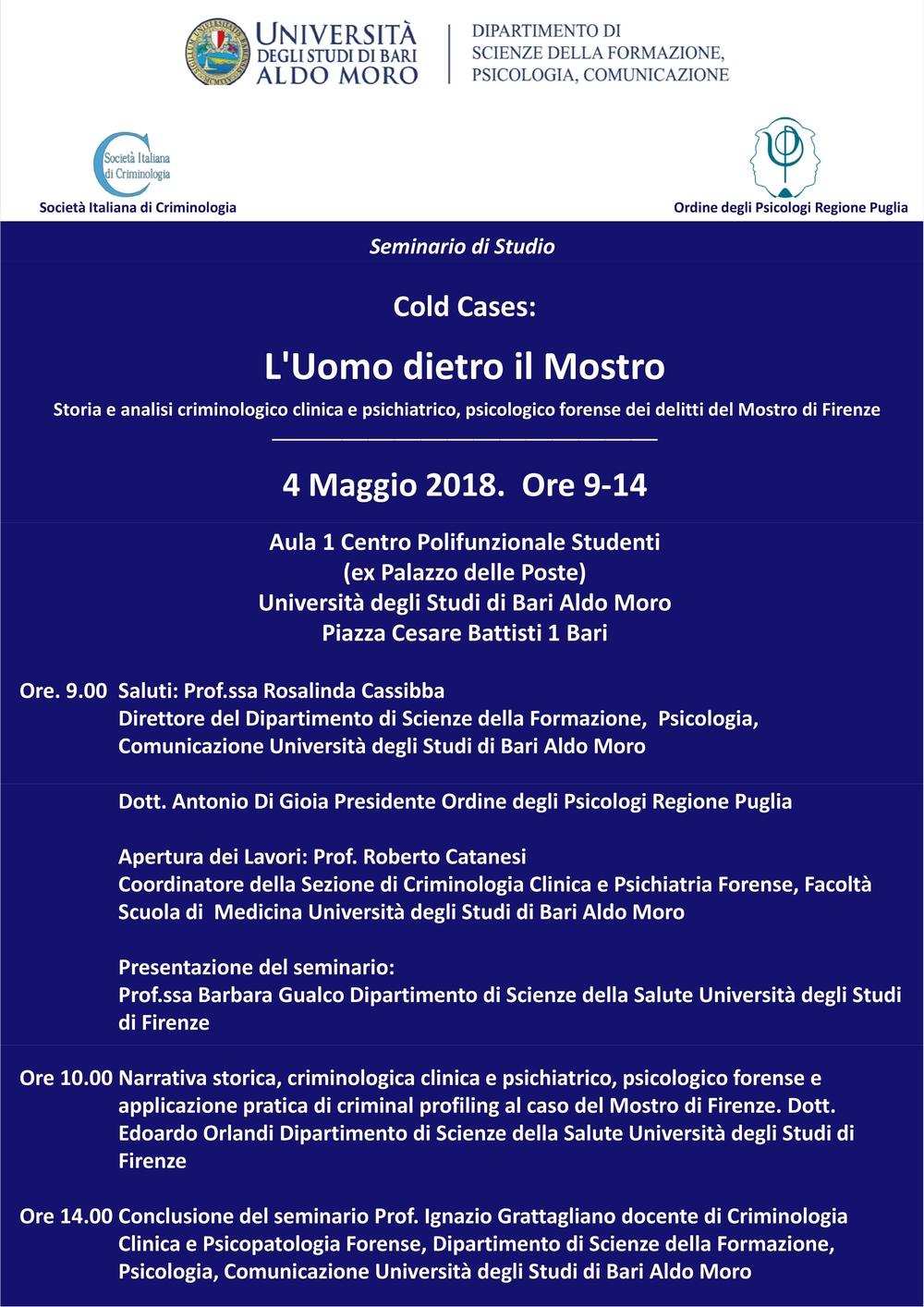 Cold cases l 39 uomo dietro il mostro eventi patrocinati for Societa italiana di criminologia